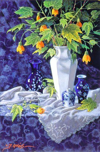 White vase with Chinese Lanterns