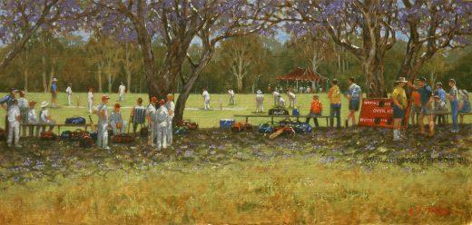 Cricket match under the Jacarandah trees