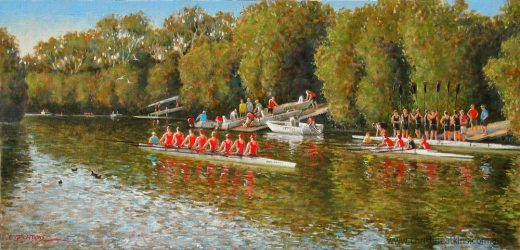 Rowing sculls on the river