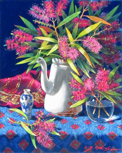 Bottlebrush in a white enamel coffee pot