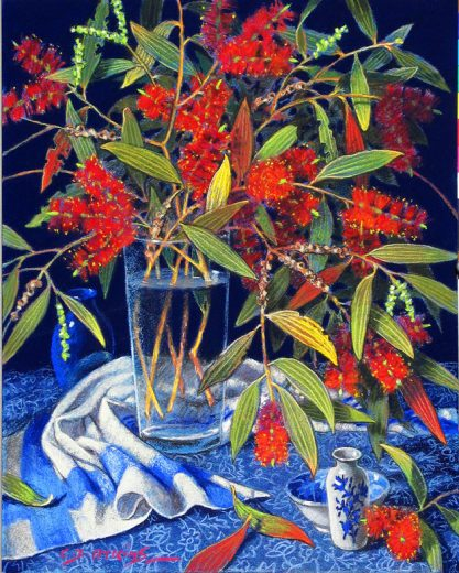 Bottlebrush flowers in a glass vase