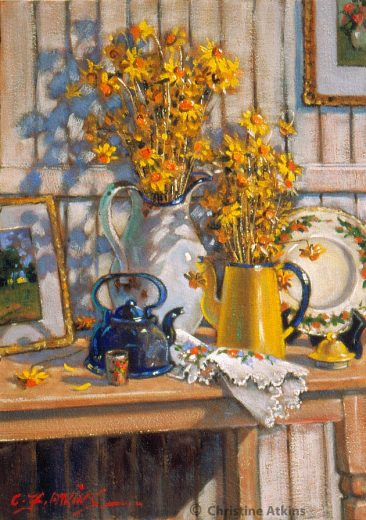 Yellow everlasting daisies on a table