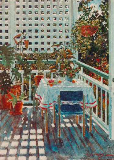 Painting of a verandah with table, lattice and potplants.