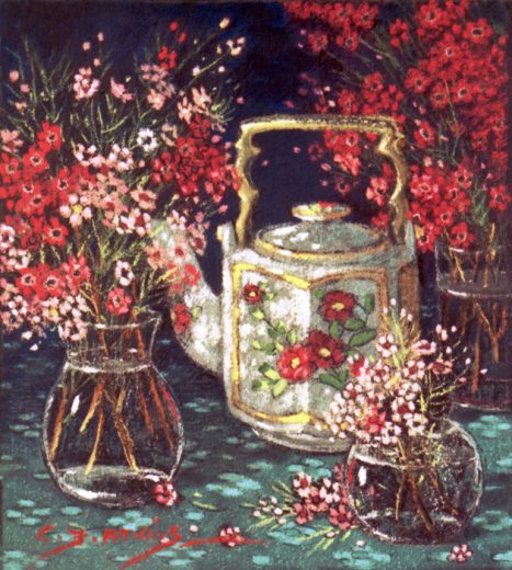 Three vases of Geraldton Wax flowers surround a teapot