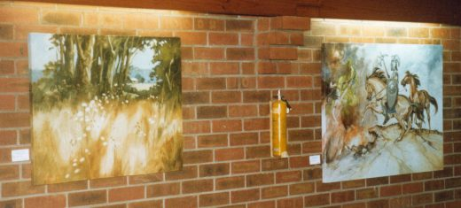 Two paintings by Christine Atkins in a 1982 exhibition
