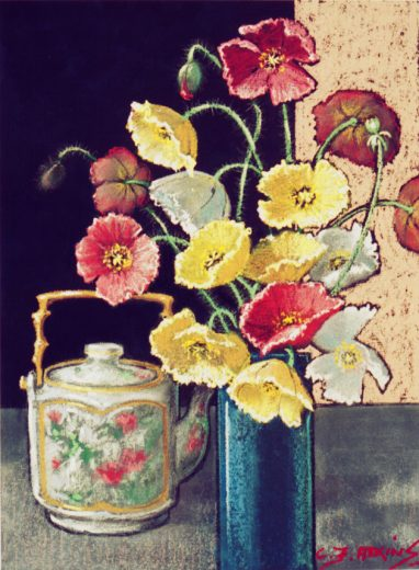 Poppies in a blue vase are accompanied by a multicoloured teapot.