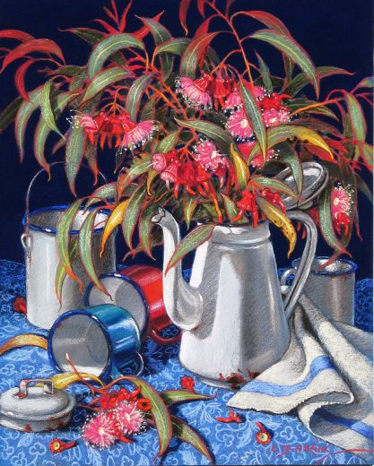 A coffee pot contains flowering coral gum