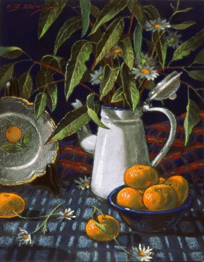 Coffee Pot with gum leaves and mandarines