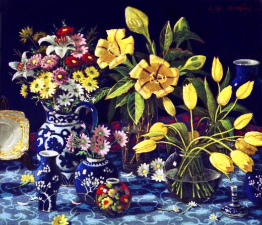 Mixed flowers with solandras in the centre