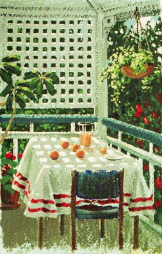 Preliminary sketch showing fruit and orange juice on a sunny table