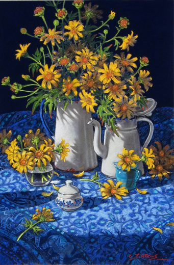 White coffee pot with bright yellow flowers
