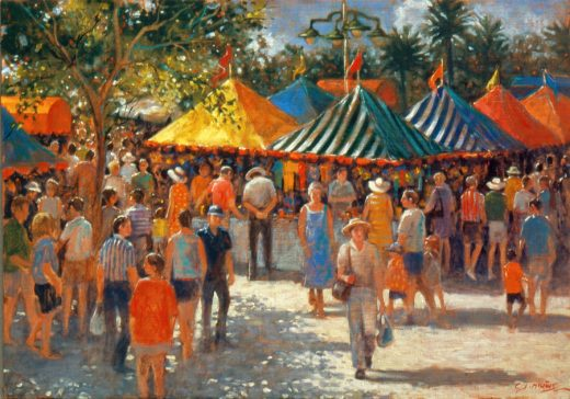 Colourful market stands and people at South Bank markets.