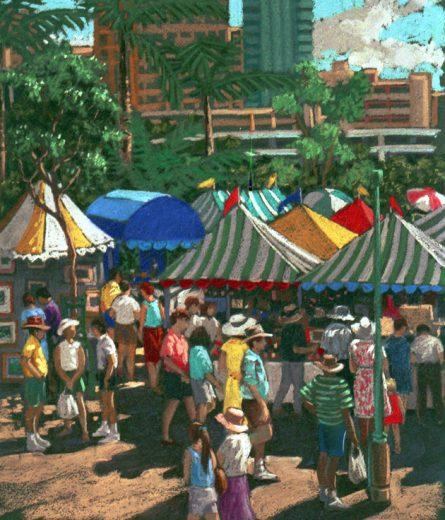 Shadows and shoppers at South Bank markets.