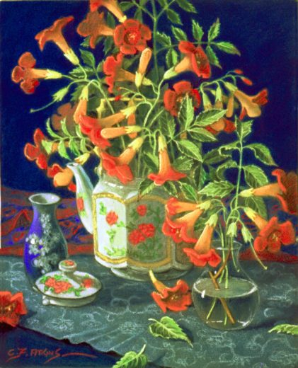 Bright flowers in a teapot